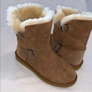 Shoes - Camel Faux Suede Faux Fur Lined Winter Boots